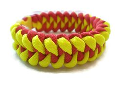 Yellow and Red Paracord Survival Bracelet Shark by ACORDING2MACEY
