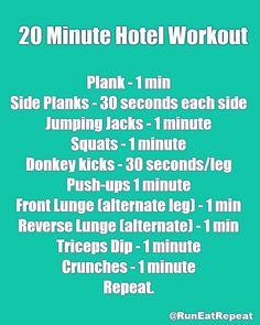 20 minute hotel workout Get ready Wellness Fitness, Fitness Tips, Fitness Motivation, Health Fitness, Workout Fitness, Workout Diet, Physical Fitness, Vacation Workout, Travel Workout