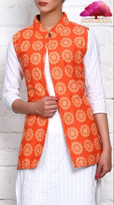Brown & Orange Cotton & Silk Quilted Reversible Jacket by Lavennder at Indianroots.com