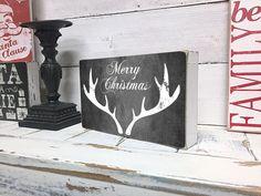 Christmas Home Decor, Merry Christmas Sign, Reindeer, Wood Sign, Vintage Christmas Decor, Decorations, Christmas Box Sign, 6x10