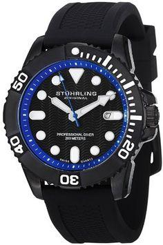 Stuhrling Original Men's 328R.335651 Aquadiver Regatta Atlantis Sport Swiss Quartz Divers Date Black Rubber Strap Watch Stuhrling Original. $129.00