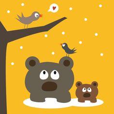 Affiche poster enfant, maman ours et bébé ours de Boum badaboum