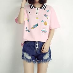 space characters embroidery polo tshirt