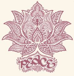 """Henna style lotus flower embossed with """"peace"""". Unique and beautiful!"""