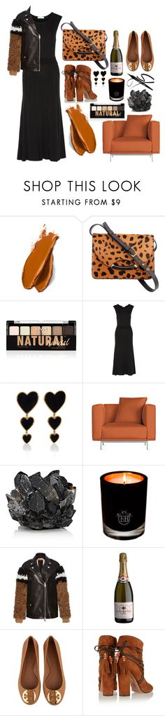 """""""Black + Caramel"""" by cherieaustin on Polyvore featuring Balmain, Charlotte Olympia, NYX, Sandro, Edie Parker, Design Within Reach, McCoy Design, EB Florals, N°21 and Tory Burch"""