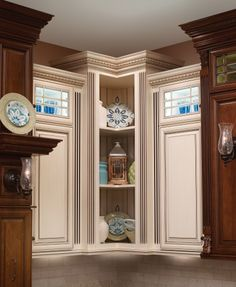 Covered Bridge Cabinetry- Two Toned French Style Kitchen Glass Front Cabinets, First Kitchen, French Country Style, Kitchen Cabinetry, Kitchens, Gallery, Room, Furniture, Bridge