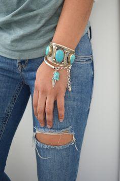 Bohemian Silver FEATHER/ARROWHEAD turquoise by WalktheTalkJewelry