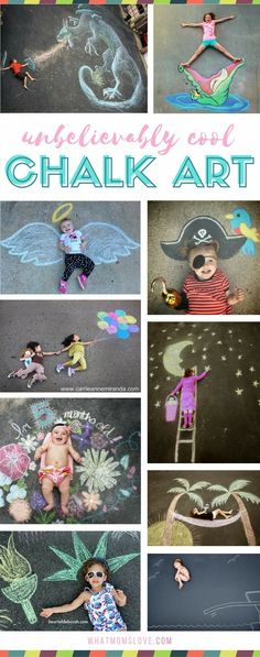 Sidewalk Chalk Art Ideas for Kids These creative driveway illusions are totally awesome! Easy drawings to incorporate your baby, child or teen. Plus tons of other sidewalk chalk games and activities for outdoor summer fun. Summer Crafts, Fun Crafts, Sidewalk Chalk Games, Sidewalk Paint, Sidewalk Chalk Pictures, Art Halloween, Halloween Drawings, Foto Fun, Chalkboard Art