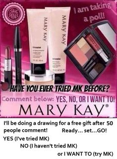 """Have you tried Mary Kay before? If your answer is """"no"""", let me gift you with a FREE facial! You just might fall in love with Mary Kay! Call/Text me at Mary Kay Ash, Mary Mary, Mary Kay Party, Mary Kay Cosmetics, Selling Mary Kay, Facebook Party, Beauty Consultant, Mary Kay Makeup, Skin Care"""