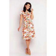 Elegant midi dress in a beautiful orange floral pattern. Dress runs small. Casual Chic, Smart Casual, Midi Flare Dress, Floral Dress Outfits, Elegant Midi Dresses, Orange Dress, Short Sleeve Dresses, Womens Fashion, Clothes
