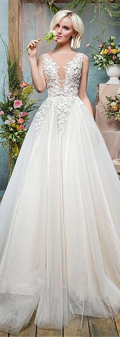 Wonderful Tulle Bateau Neckline See-through A-Line Wedding Dress With Beaded Lace Appliques