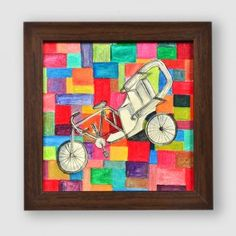 Canvas Handpainted Contemporary Rickshaw Wall Décor