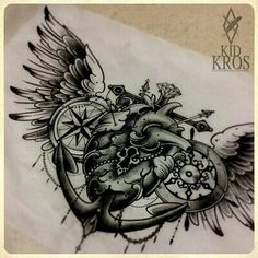 Heart with anchor and wings