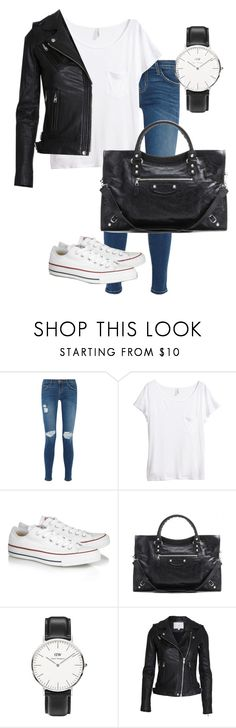 """Untitled"" by picasso2011 ❤ liked on Polyvore featuring Current/Elliott, H&M, Converse, Balenciaga and Daniel Wellington"