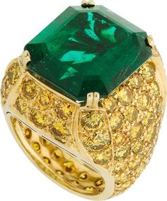 Emerald, Yellow Diamond and Gold Ring, by Pacetti.