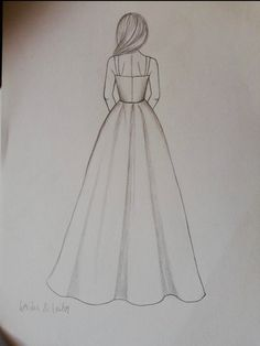 Diy Discover Custom Modest Wedding Dress Custom Bridal Gown -Chelsea Related Simple Doodles You Can Easily Copy in Your Bullet Journal Bullet journal desi. Girl Drawing Sketches, Girly Drawings, Art Drawings Sketches Simple, Pencil Art Drawings, Drawing Ideas, Disney Drawings, Girl Drawing Easy, Drawings Of Dresses, Dress Drawing Easy