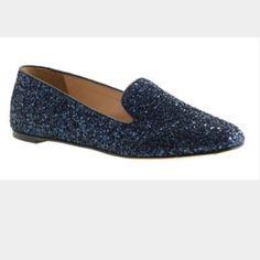 J Crew Navy Glitter Loafers  Final Price