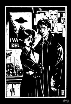 spooky-monkey-art:  The X-files Hellboy crossover fan art. Of course, it's not perfect. But i love the idea! @thexfilesfox@ artofmmignola @Chris Carter, Fox, Chris Carter… please make a newgraphic novel of The X-Files with master Mike Mignola'sart. The best thing ever!  © Spooky Monkey