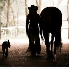 every cowgirl's two best friends! Horse and dog!