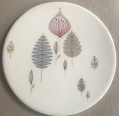 "Mid-Century TRIVET Tea Tile Pastel Leaves Light Pink Blue Beige Gray Diameter 6"" Vintage Table by BROCANTEBedStuy on Etsy"