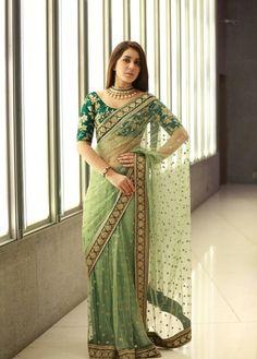 Designer Light Green Color Naylone Net Rashi Khanna Saree Embroidered Party Wear Saree With Blouse Piece Pakistani Bridal Dresses, Indian Dresses, Indian Outfits, Indian Attire, Indian Wear, Jute, Chiffon, Saree Trends, Green Saree