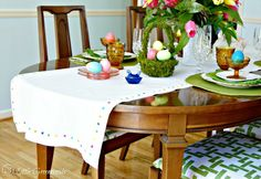 FABULOUS tutorial for DIY No Sew Table Runner! Add this inexpensive Easter Table Runner to your traditional Easter table!