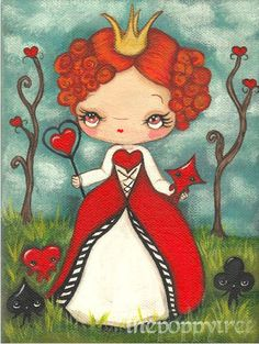 Queen of Hearts Original Painting Cute Alice in Wonderland Card Characters Fairy Tale Wall Art 6 x 8 The Red Queen Mad Hatter Original, Alice In Wonderland 1951, Wonderland Party, Lewis Carroll, Red Queen, Queen Queen, Decoupage Art, Fairytale Art, Queen Of Hearts