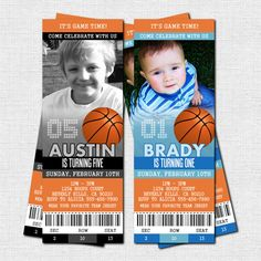 BASKETBALL TICKET INVITATIONS Birthday Party - Modern Design - (print your own) Personalized Printable. $9.00, via Etsy.