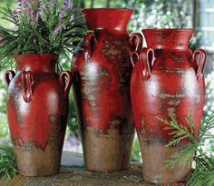 "Fairhaven Pottery Vases (Set of 3) $250 - Small: 10""W x 10""D x 16""H; Medium: 11""W x 11""D x 19""H; Large: 12""W x 12""D x 21""H."