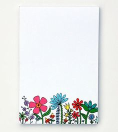 """Happy Cactus Floral Blooms Notepad on Ecka & Pecka's Beautiful Notepads and Notebooks for Jotting Down Inspiration"""" Hand Made Greeting Cards, Making Greeting Cards, Beautiful Easy Drawings, Diy Cards, Xmas Cards, Page Borders Design, Washi Tape Cards, Bullet Journal Books, Flower Doodles"""