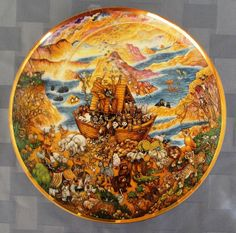 "Precioso plato decorativo ""Two by Two"" (los animales abordan el arca de Noé) de Bill Bell / The Franklin Mint Heirloom ""Two By Two"" by Bill Bell porcelain collectors plate"