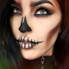 Skull Halloween Makeup  By: @muartistlaurennicole  #halloween #skull #skullmakeup #halloweenmakeup