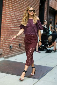 burgundy off the shoulder top and laser cut skirt