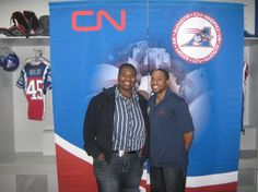 Tomee Sojourner, President, Tomee Sojourner Consulting, and Denburk Reid, Coordinator, Community Affairs for Montreal Alouettes Pro Football Team @ professional development diversity session for pro players taking part in Alouettes Together At School facilitated by Tomee. Jan 2011