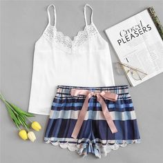 To find out about the Lace Detail Cami & Scalloped Plaid Shorts PJ Set at SHEIN, part of our latest Pajama Sets ready to shop online today! Flirty Pajamas, Cute Pajamas, Pajamas For Women, Cute Pjs For Women, Summer Pajamas, Plaid Pajamas, Pajama Outfits, Pajama Shorts, Cute Outfits