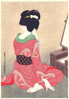 """HIRANO Hakuhô (平野白峰)(1879-1957), """"Before the Mirror"""" (Kagami no mae) (1932), Woodblock print"""