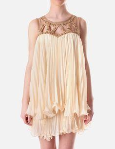 The Great Gatsby Inspiration. Naomi Tsukishima Beaded Detail Womens Pleated Dress Cream #DiffusionMovie