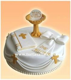 First Communion Cake Boy Communion Cake, First Holy Communion Cake, Fondant Cakes, Cupcake Cakes, Bolo Mickey Baby, Comunion Cakes, Cross Cakes, Religious Cakes, Confirmation Cakes