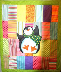 Adorable and colorful penguin quilt by kriefscreations on Etsy, $70.00
