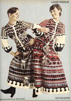 Campaña de la casa francesa Louis Feraud, cuyas propuestas se ajustaban a los deseos de una clientela con ansias de libertad. Vestidos de estilo folk y líneas voluminosas.