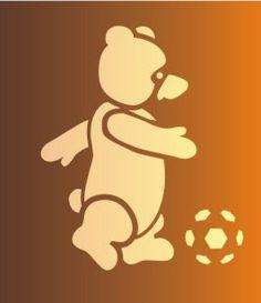Bear playing Football Children's Room Stencil Design from Stencil Kingdom #bearlouis