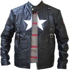 Captain America star emblem motorcycle jacket.