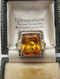 Art Deco Citrine Filigree Ring - 14K Gold