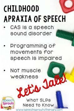 Childhood Apraxia of Speech: What SLPs Need to Know. This post is the first in a series: Let's talk about what I learned an expert in CAS. Speech Pathology, Speech Language Pathology, Speech And Language, Speech Therapy Activities, Language Activities, Communication Development, Language Development, Childhood Apraxia Of Speech, Articulation Therapy