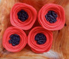 Felt Poppies-Felt Poppy-Red Poppies-Wool Felt by TheBeautifulDoor