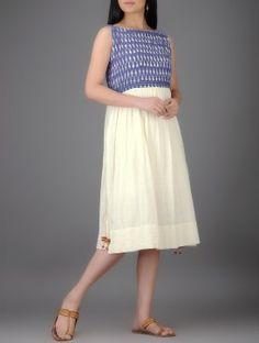 Ivory-Blue Ikat Khadi Cotton Dress