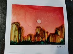 Handmade greeting card. Alcohol ink on Yupo paper.