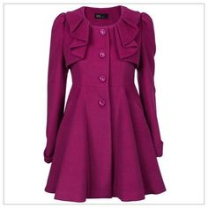 Ruffle-Detail Button-Front Coat ($80) ❤ liked on Polyvore