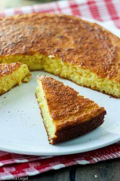 Bolo de milho de liquidificador fácil | Cozinha Legal Food Cakes, Pastel Cakes, Cake Recipes, French Toast, Sandwiches, Food And Drink, Yummy Food, Pasta, Favorite Recipes