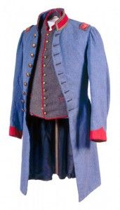 Crenshaw Grey uniform coat worn by Lt. Charles Ellis Munford of the Letcher Artillery. Munford was killed July 1, 1862 at Malvern Hill. Photo courtesy the Virginia Historical Society www.Virginia Historical.org.